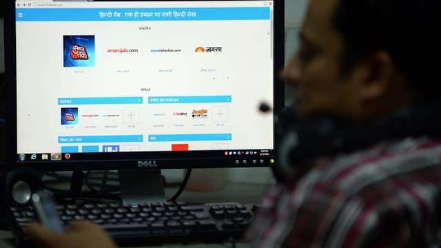 Le site de Google est un outil de recherche vocal avec un clavier en hindi.