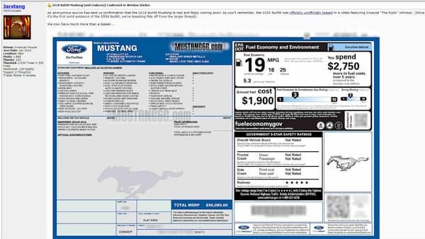 Ce sticker laissait présupposer l'arrivée d'une nouvelle série limitée de Ford Mustang.
