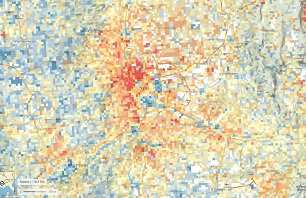 La carte du niveau de vie dans la Métropole de Lyon (en rouge, les niveaux de vie les plus élevés, en bleu, les plus faibles)