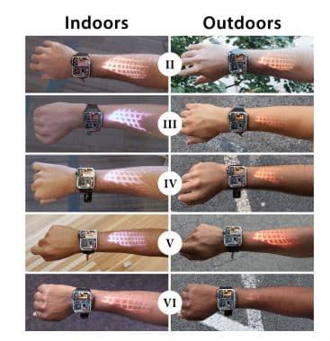 L'image projetée sur différentes couleurs de peau