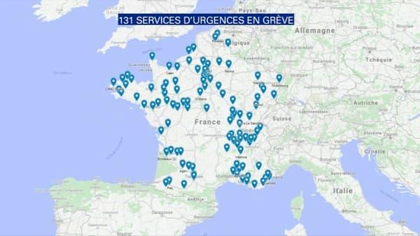 131 services d'urgences sont désormais concernés par la grève