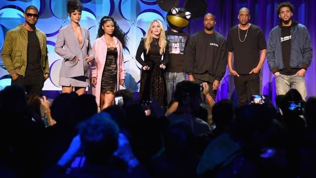 Usher, Rihanna, Nicki Minaj, Madonna, Deadmau5, Kanye West, Jay Z et J. Cole lors du lancement de Tidal en mars 2015