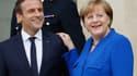 Le président français Emmanuel Macron et la chancelière allemande Angela Merkel.