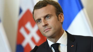 Le président français Emmanuel Macron lors d'une conférence de presse commune avec le Premier ministre slovaque, le 26 octobre 2018 à Bratislava.