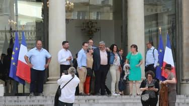 Des membres de la Convention citoyenne pour le climat après une réunion avec Emmanuel Macron, à l'Elysée, le 29 juin 2020 (Photo d'illustration)