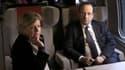 Sylvie Hubac avec François Hollande le 12 mars 2013 au retour d'une visite en Bourgogne.