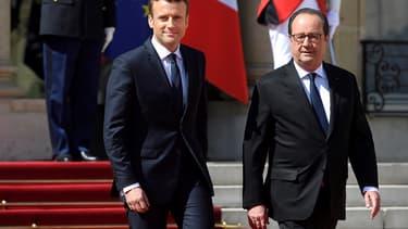 Emmanuel Macron et François Hollande, le jour de la passation de pouvoir, le 14 mai dernier.