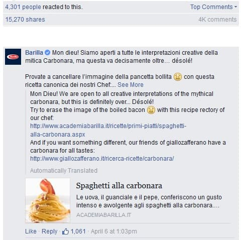 "Barilla se dédouane sur le groupe Facebook ""Sai cosa mangi?""."