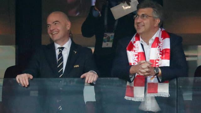 Andrej Plenkovic, Premier ministre croate et Gianni Infantino, président de la Fifa