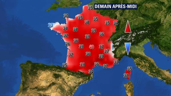 Les températures attendues samedi