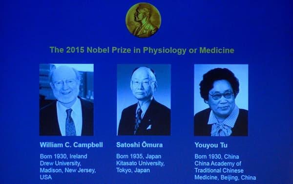Les lauréats du Nobel de médecine 2015 sont l'Irlandais William Campbell, le Japonais Satoshi Omura et le Chinois Youyou Tu.