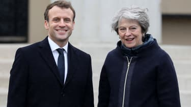Emmanuel Macron et Theresa May, le 18 janvier 2018, à Sandhurst, près de Londres.