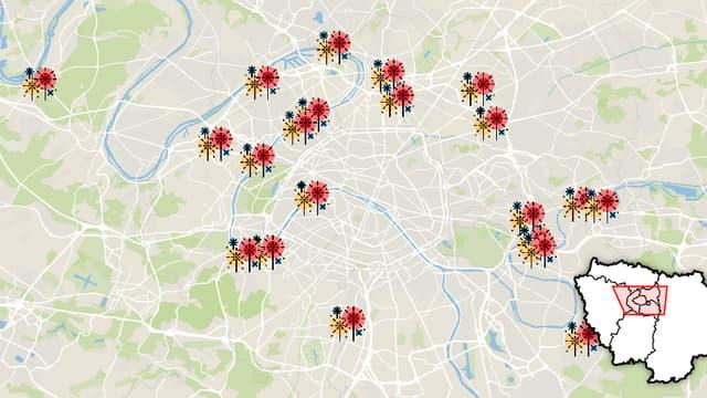 La carte des feux d'artifice du 14-Juillet en Ile-de-France.