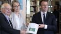 Erik Orsenna, Françoise Nyssen et Emmanuel Macron, le 20 février 2018, aux Mureaux.