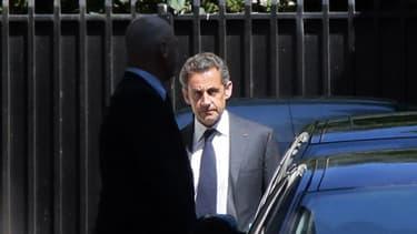 Nicolas Sarkozy à la sortie de son domicile mercredi matin.