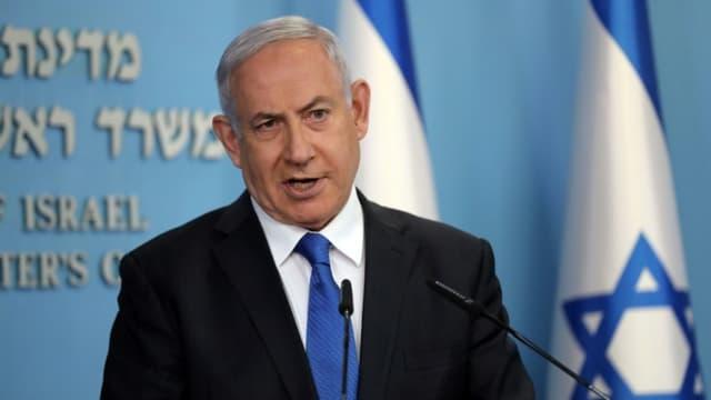Le Premier ministre Benjamin Netanyahu lors d'une conférence de presse à Jérusalem, le 13 août 2020 sur l'accord de paix entre Israel et les EAU