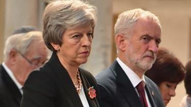 La première ministre britannique Theresa May et le leader du parti travailliste Jeremy Corbyn le 6 novembre 2018.