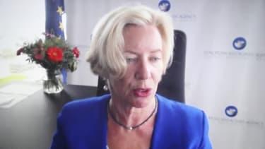 La directrice exécutive de l'Agence européenne des médicaments (EMA), Emer Cooke, lors d'une vidéoconférence à Bruxelles, le 16 mars 2021 (photo d'illustration)