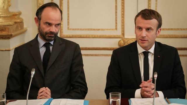 Edouard Philippe et Emmanuel Macron le 30 octobre 2017 à L'Elysée.