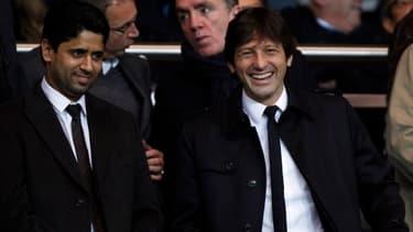 Le PSG, grâce à son nouveau contrat d'image, évite un doublement des pertes globales de la Ligue 1. Ici, le président du club, Nasser Al-Khelaifi, accompagné du directeur sportif, Leonardo.
