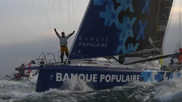 Armel Le Cléac'h après sa victoire sur le Vendée Globe