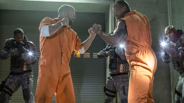 """Jason Statham et et Dwayne Johnson dans """"Fast and Furious 8"""""""