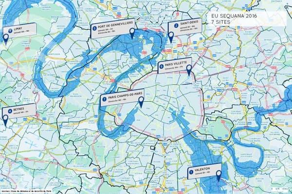 Les sept sites de l'exercice EU Sequana 2016.