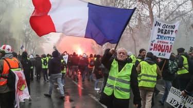 Des gilets jaunes mobilisés à Paris, le 19 janvier 2019. (Photo d'illustration)