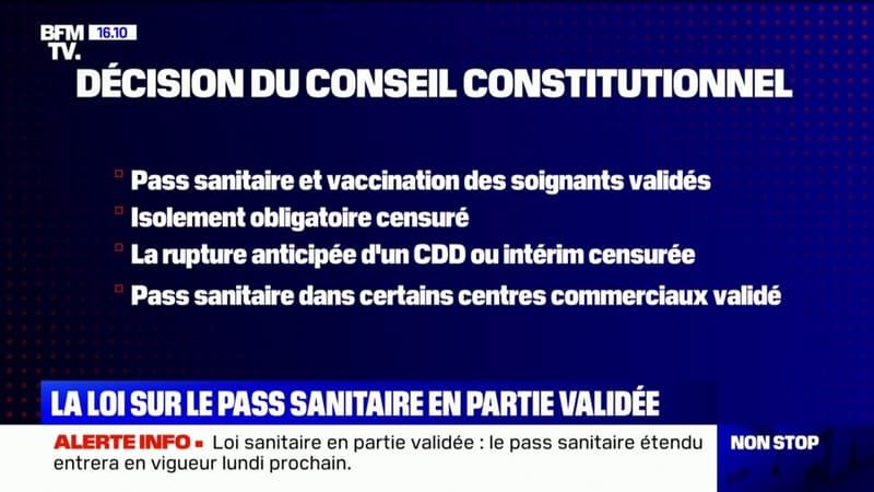 Le Conseil constitutionnel valide l'extension du pass sanitaire, l'isolement obligatoire censuré