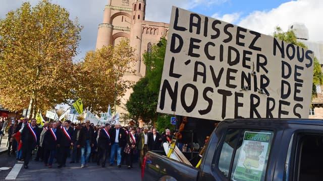 Des agriculteurs opposés à la suspension des travaux du barrage de Sivens manifestent à Albi, le 15 novembre dernier.