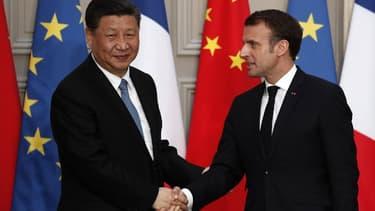 Emmanuel Macron et Xi Jinping.
