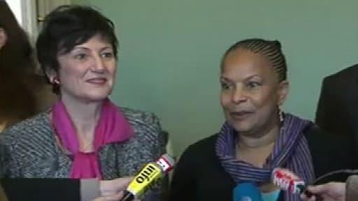 Dominique Bertinotti et Christiane Taubira, lundi 18 février, après avoir rencontré les associations de pères.