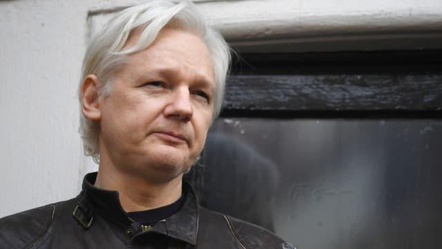 Le fondateur de Wikileaks, Julian Assange, à l'ambassade d'Equateur à Londres, le 19 mai 2017