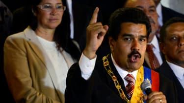Nicolas Maduro, président par intérim du Venezuela,pendant la cérémonie d'investiture.