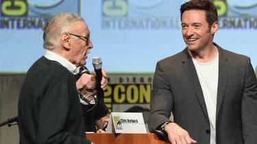 Stan Lee et Hugh Jackman en juillet 2015