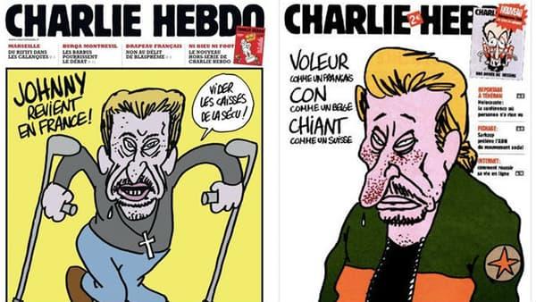 """Johnny Hallyday caricaturé à plusieurs reprises en Une de """"Charlie Hebdo"""""""