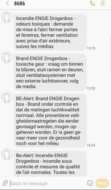 Des SMS d'urgence reçus à proximité de Bruxelles  en novembre 2017.