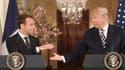 Emmanuel Macron et Donald Trump lors de leur conférence de presse à la Maison Blanche, le 24 avril 2018.