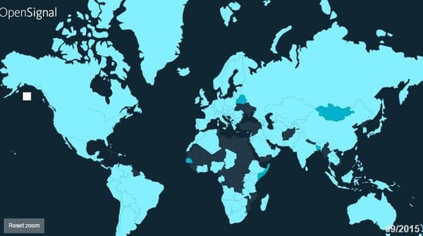 Carte représentant l'accès à la 4G par pays dans le monde. En bleu clair, les pays disposant déjà de la 4G. En bleu foncé, ceux qui ont prévu de la déployer.