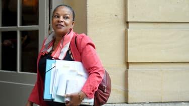 Christiane Taubira arrive à Matignon le 6 janvier 2016
