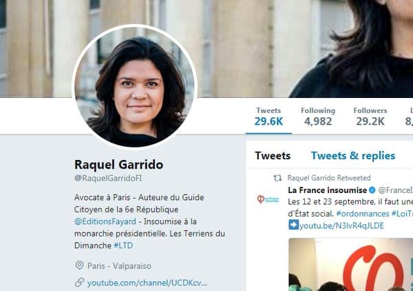 Capture écran du profil Twitter de Raquel Garrido