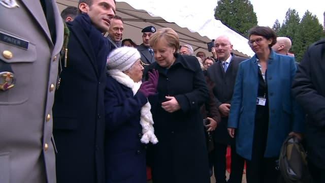 Angela Merkel, lors des commémorations dans la clairière de Rethondes, le 10 novembre 2018.