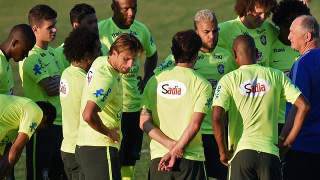 Luiz Felipe Scolari et ses joueurs
