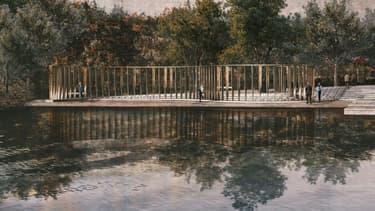 Image numérique du futur mémorial national, érigé, face à l'île d'Utoya en l'honneur des 77 victimes tuées par Anders Behring Breivik en juillet 2011, le 6 janvier 2021 en Norvège. (Photo d'illustration)