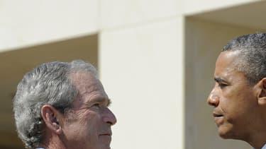 Barack Obama et George W. Bush à Dallas, au Texas, le 13 avril 2013.