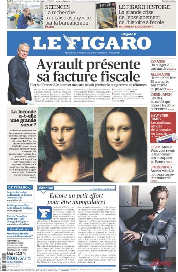 Une du Figaro, vendredi 28 septembre