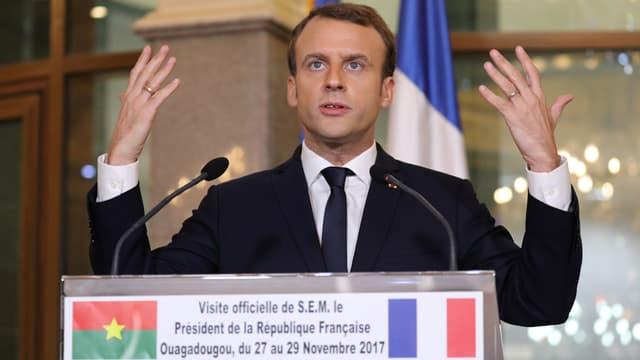 Emmanuel Macron, le 28 novembre 2017, à Ouagadougou.