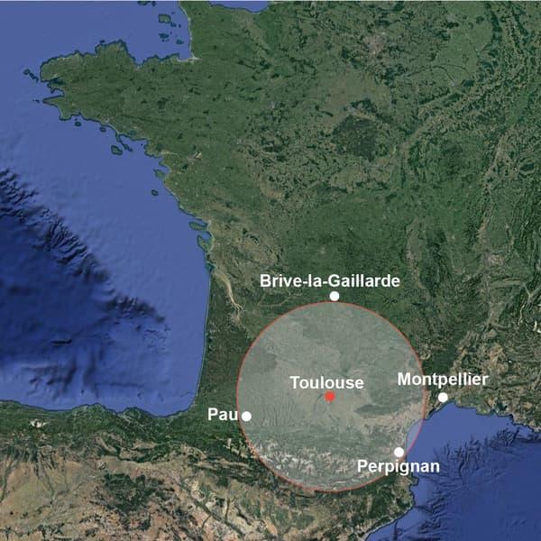 Infographie imaginant les feux australiens s'ils partaient de Toulouse.