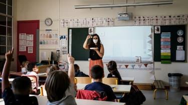 Une salle de classe le premier jour de la rentrée scolaire à Lyon, le 6 septembre 2021