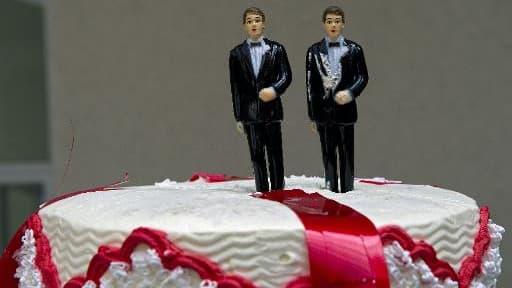 Un gâteau commandé pour le mariage de deux homosexuels à Mexico le 1er décembre 2010